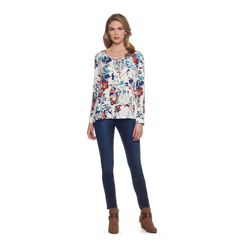 Skyes The Limit Monte Carlo Long Sleeve V Neck Woven Floral Blouse-Plus