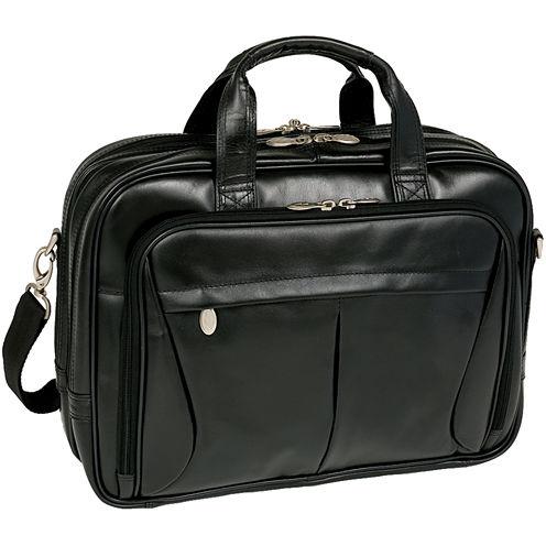 """McKleinUSA Pearson 17"""" Leather Expandable Double Compartment Laptop Briefcase"""
