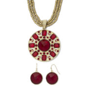 Gold-Tone & Red Medallion Pendant Necklace & Earrings Set
