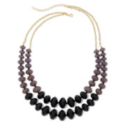 Jet Bead 2-Row Bib Necklace