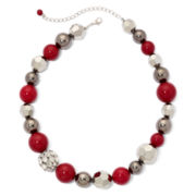 Silver-Tone & Red Fireball Bead Necklace