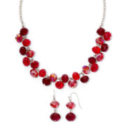Red Glass Shaky Necklace & Earrings Set