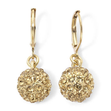 jcpenney.com | Monet® Gold-Tone & Yellow Crystal Fireball Drop Earrings