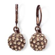 Monet® Bronze-Tone & Champagne Crystal Fireball Drop Earrings