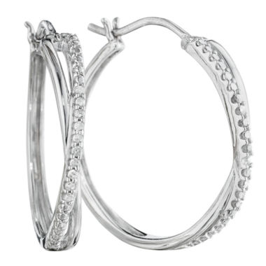 jcpenney.com | 1/10 CT. T.W. Diamond Sterling Silver X-Hoop Earrings