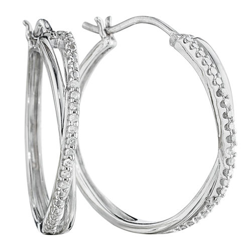 1/10 CT. T.W. Diamond Sterling Silver X-Hoop Earrings