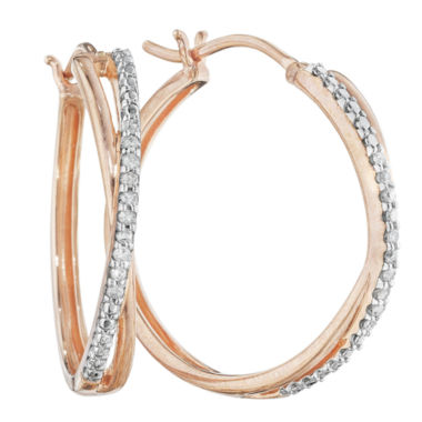 jcpenney.com | 1/10 CT. T.W. Diamond 14K Rose Gold Over Sterling Silver X-Hoop Earrings