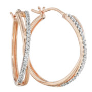 1/10 CT. T.W. Diamond 14K Rose Gold Over Sterling Silver X-Hoop Earrings