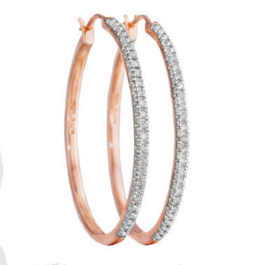 jcpenney.com | ¼ CT. T.W. Diamond 14K Rose Gold Over Sterling Silver Hoop Earrings