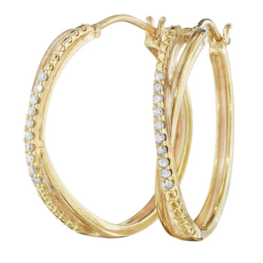 jcpenney.com | 1/10 CT. T.W. Diamond 14K Yellow Gold Over Sterling Silver X-Hoop Earrings