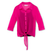 Sally M™ Sally Miller Tie-Front Chiffon Shirt - Girls 6-16