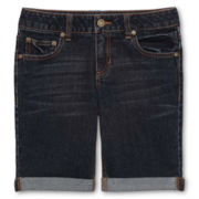 Arizona Popular Dark Denim Bermuda Shorts - Girls 6-16, Slim and Plus