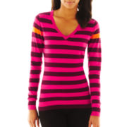 jcp™ Striped V-Neck Sweater - Talls