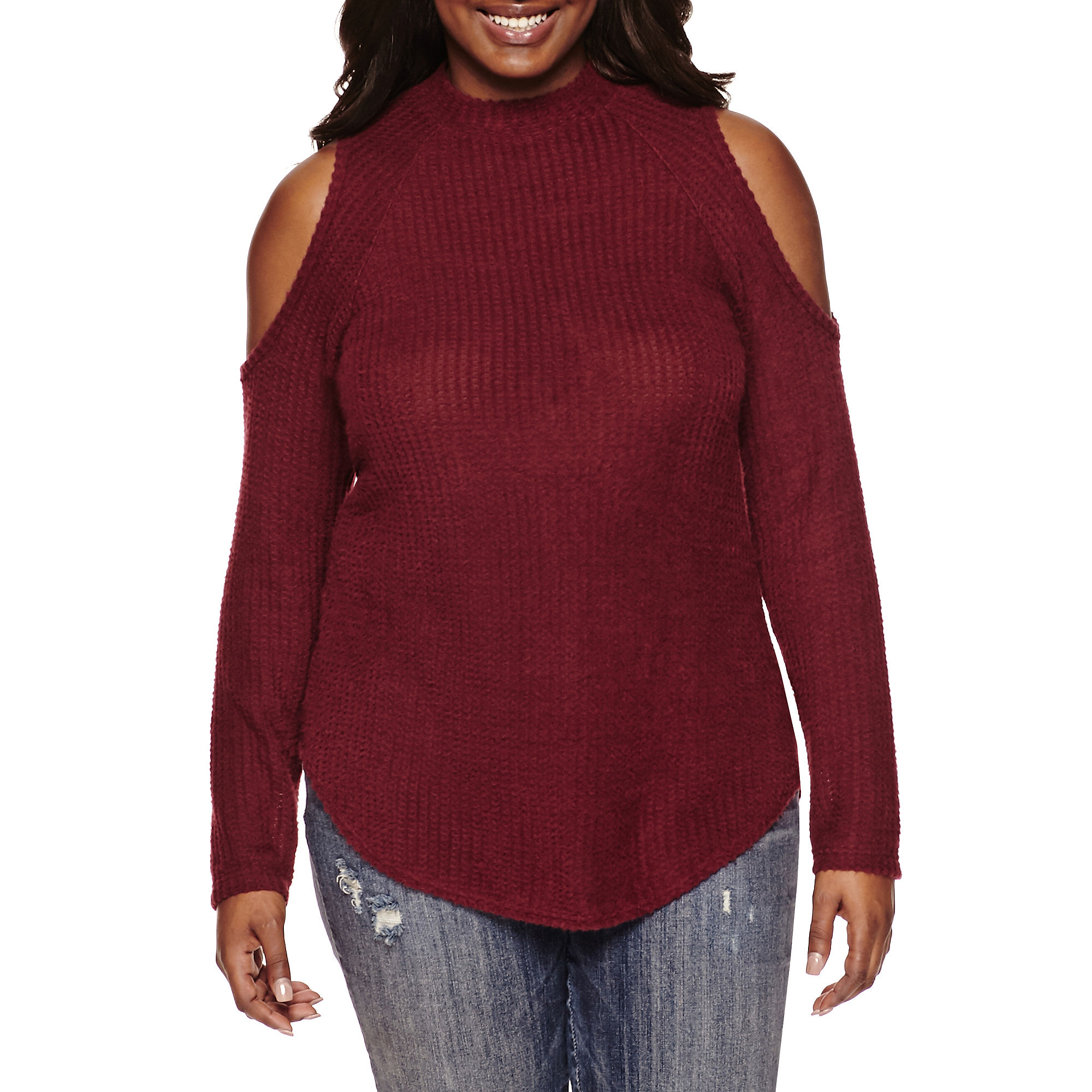 Decree Long-Sleeve Cold-Shoulder Mock-Neck Top - Juniors Plus plus size,  plus size fashion plus size appare