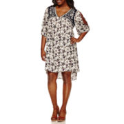 Love And Let Love Elbow Sleeve Cold Shoulder Sleeve A-Line Dress