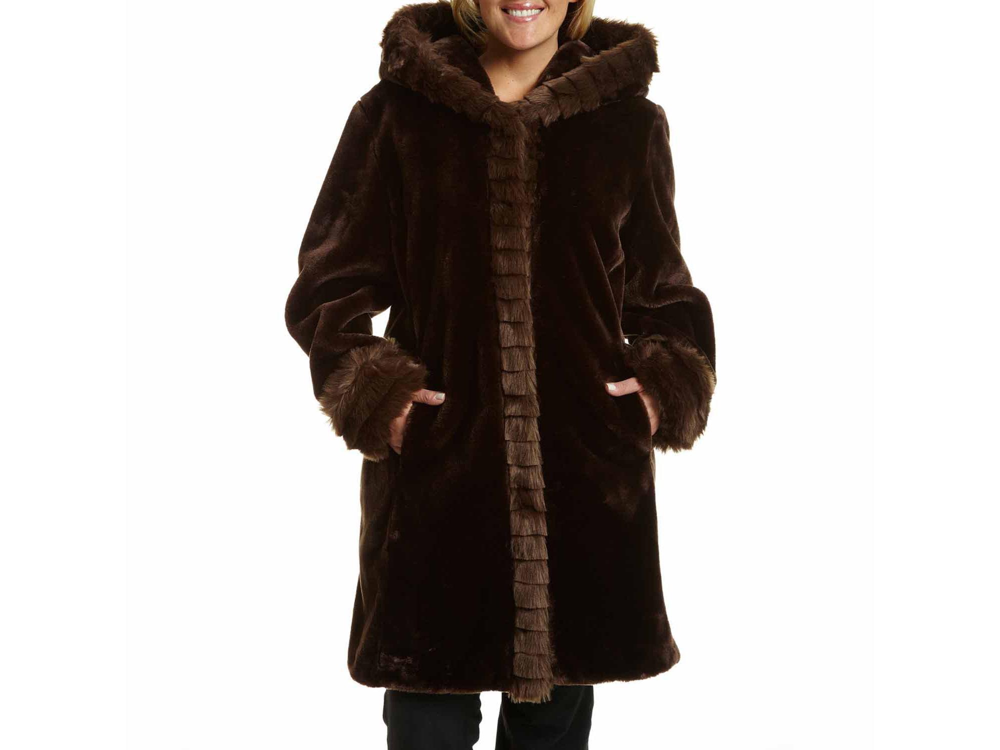 Excelled Faux-Fur Short Solid Coat - Plus