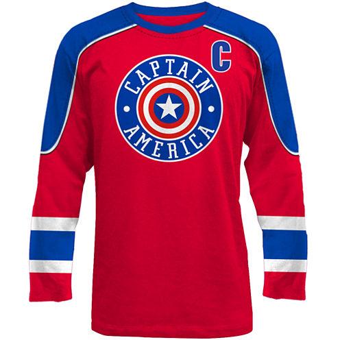 Novelty Season Short Sleeve Captain America Graphic T-Shirt