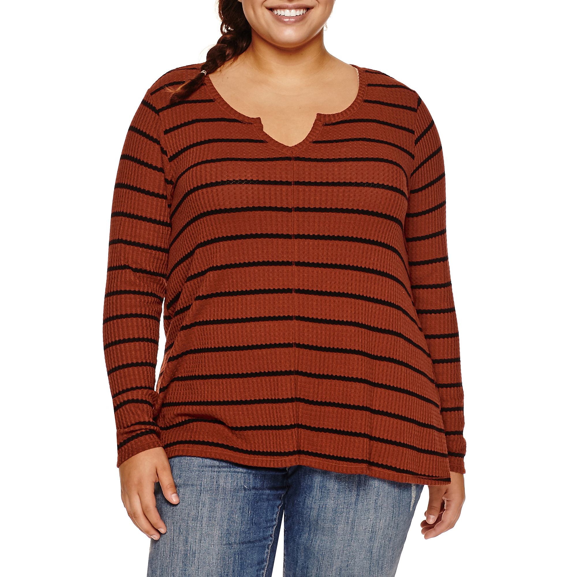 Arizona Long Sleeve Thermal Top Juniors Plus plus size,  plus size fashion plus size appare