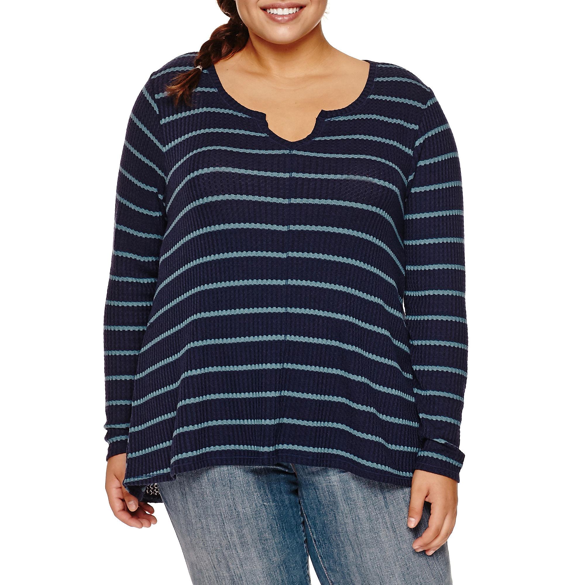 Arizona Long Sleeve Thermal Top Juniors Plus plus size,  plus size fashion plus size appare