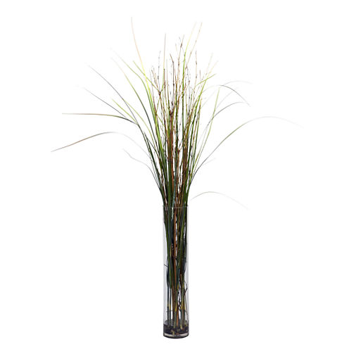 Nearly Natural Grass & Bamboo Faux-Silk Plant with Cylinder