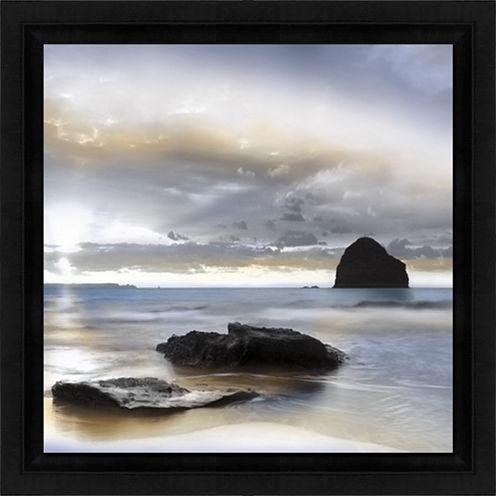 Sunset With Strand Framed Art