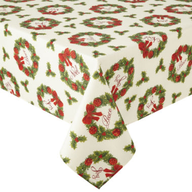 jcpenney.com | Arlee Holiday Wreath Sparkle Tablecloth