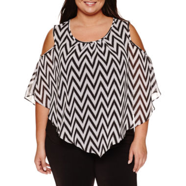 jcpenney.com | Alyx Short Sleeve Cold Shoulder Woven Overlay Blouse-Plus