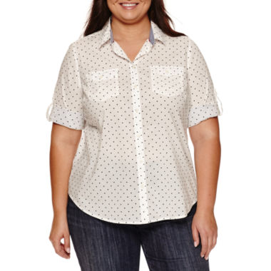 jcpenney.com | St. John's Bay 3/4 Sleeve Button-Front Shirt-Plus