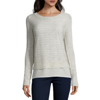 jcpenney.com | St. John's Bay® Long-Sleeve Pointelle Layered Sweater