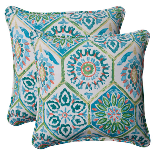 Pillow Perfect Summer Breeze Square Outdoor Pillow- Set of 2