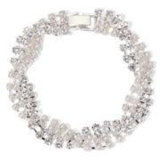 Vieste® Simulated Pearl and Rhinestone Braided Bracelet