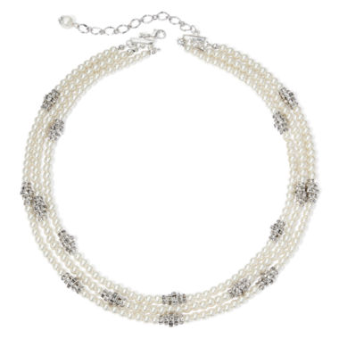 jcpenney.com | Vieste® Simulated Pearl and Rhinestone Silver-Tone Multi-Row Necklace