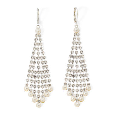 jcpenney.com | Vieste® Simulated Pearl and Rhinestone Chandelier Earrings
