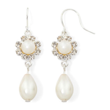 jcpenney.com | Vieste® Simulated Pearl and Rhinestone Flower Drop Earrings