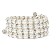 Vieste® Simulated Pearl and Rhinestone Coil Bracelet
