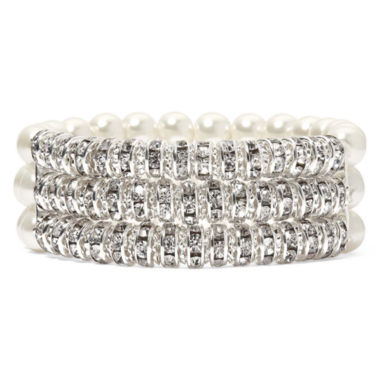 jcpenney.com | Vieste® Simulated Pearl and Rhinestone 3-Row Stretch Bracelet