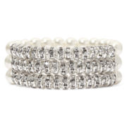 Vieste® Simulated Pearl and Rhinestone 3-Row Stretch Bracelet