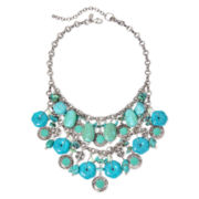 Aris by Treska Aqua Double-Row Bib Necklace