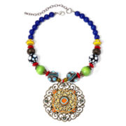 Aris by Treska Multicolor Bead Filigree Pendant Necklace