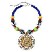 Aris by Treska Multicolor Bead Filigree Pendant Necklace