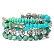 Aris by Treska Aqua Bead Coil Bracelet