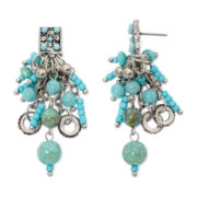 Aris by Treska Aqua Bead Cluster Drop Earrings