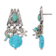 Aris by Treska Aqua Bead and Silver-Tone Earrings