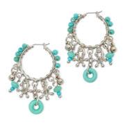 Aris by Treska Aqua Bead Hoop Earrings