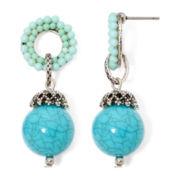 Aris by Treska Aqua Bead Drop Earrings