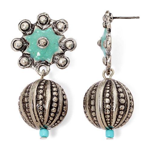 Aris by Treska Etched Silver-Tone Ball Drop Earrings