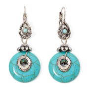 Aris by Treska Round Aqua Stone Drop Earrings