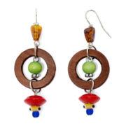 Aris by Treska Wooden Circle Bead Drop Earrings