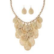 Bold Elements™ Gold-Tone Filigree Teardrop Earring and Necklace Set