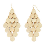 Bold Elements™ Gold-Tone Textured Teardrop Disc Chandelier Earrings